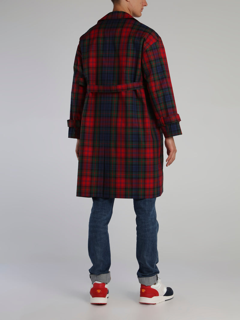 Oversized Scotland Check Trench Coat