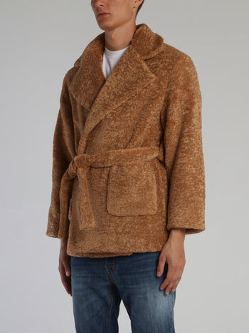 Brown Oversized Faux-Fur Coat