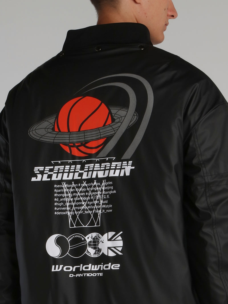 Black Basketball Logo Leather Jacket