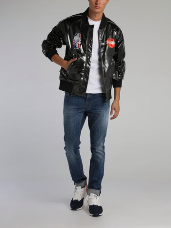 Black Basketball Logo Bomber Jacket