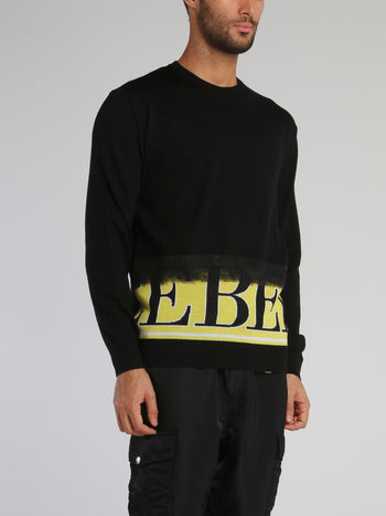 Black Logo Hem Wool Jumper