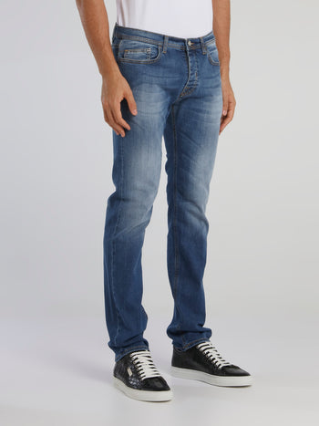 Straight Cut Denim Jeans With Rear Logo