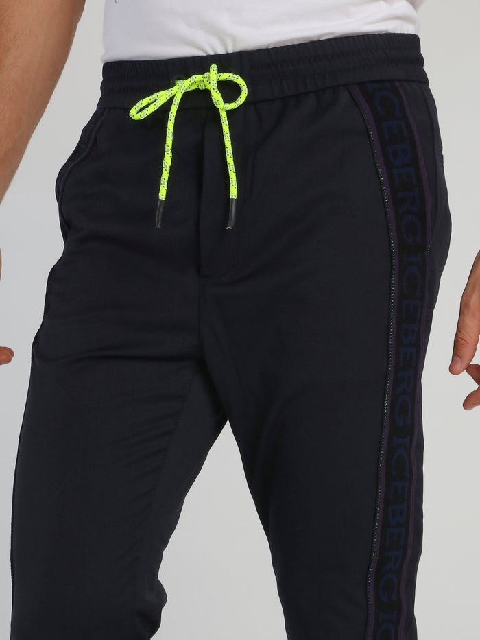 Navy Logo Tape Active Pants