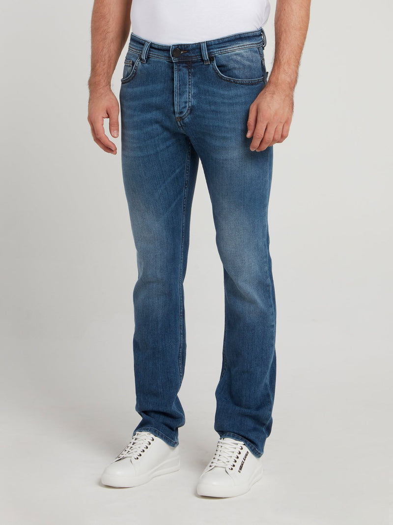 Blue Cotton Denim Trousers