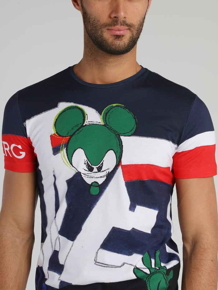 Mickey Mouse Navy Sketch Print T-Shirt