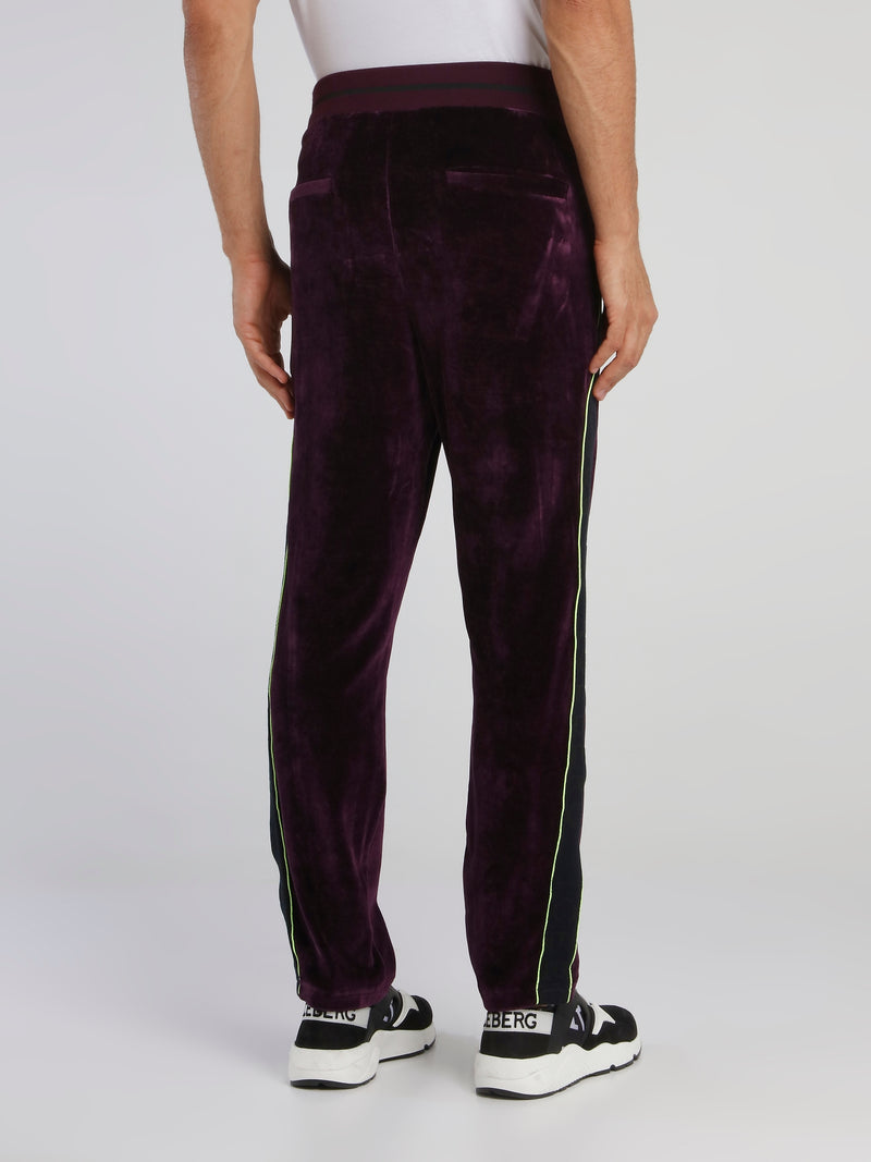 Purple Side Stripe Drawstring Velvet Trousers