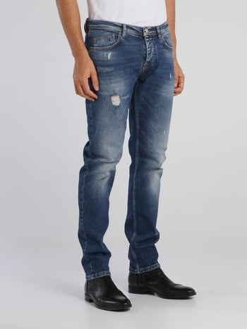Distressed Tapered Cut Jeans