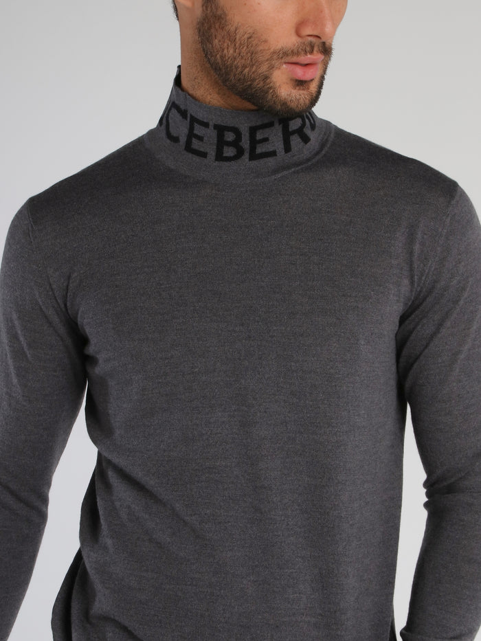 Grey Logo Knitted High Neck Top