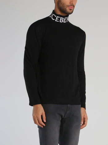 Black Logo Knitted High Neck Top