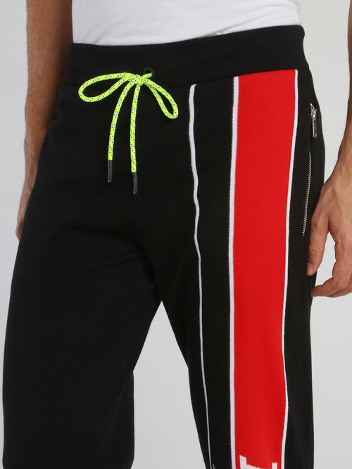 Black Carrot Fit Knitted Track Pants