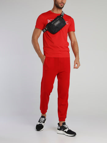 Red Side Logo Drawstring Knitted Trousers