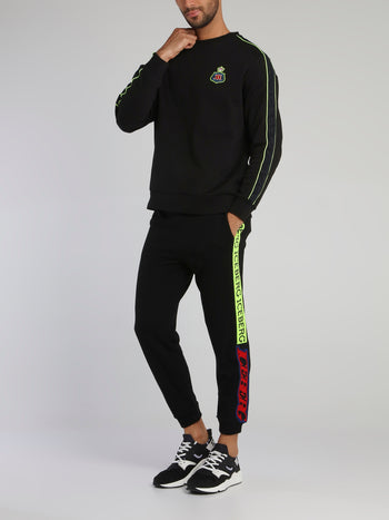 Black Side Logo Drawstring Knitted Trousers