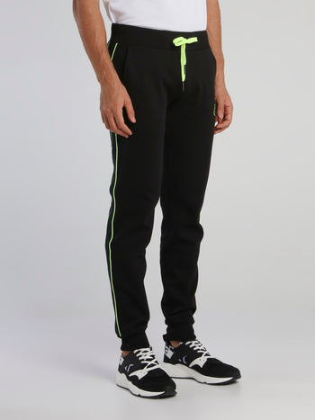 Black Monogram Drawstring Active Pants
