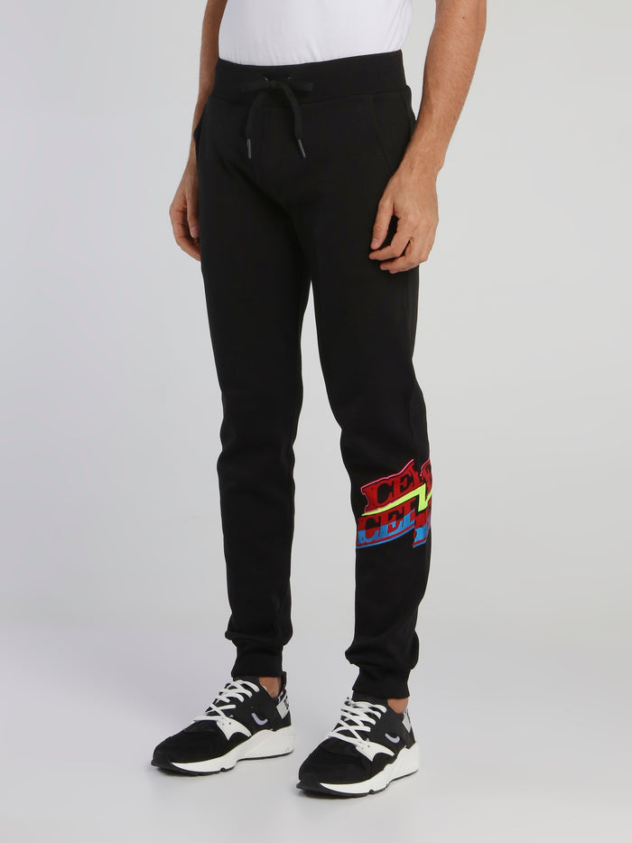 Black Logo Panel Cotton Trousers