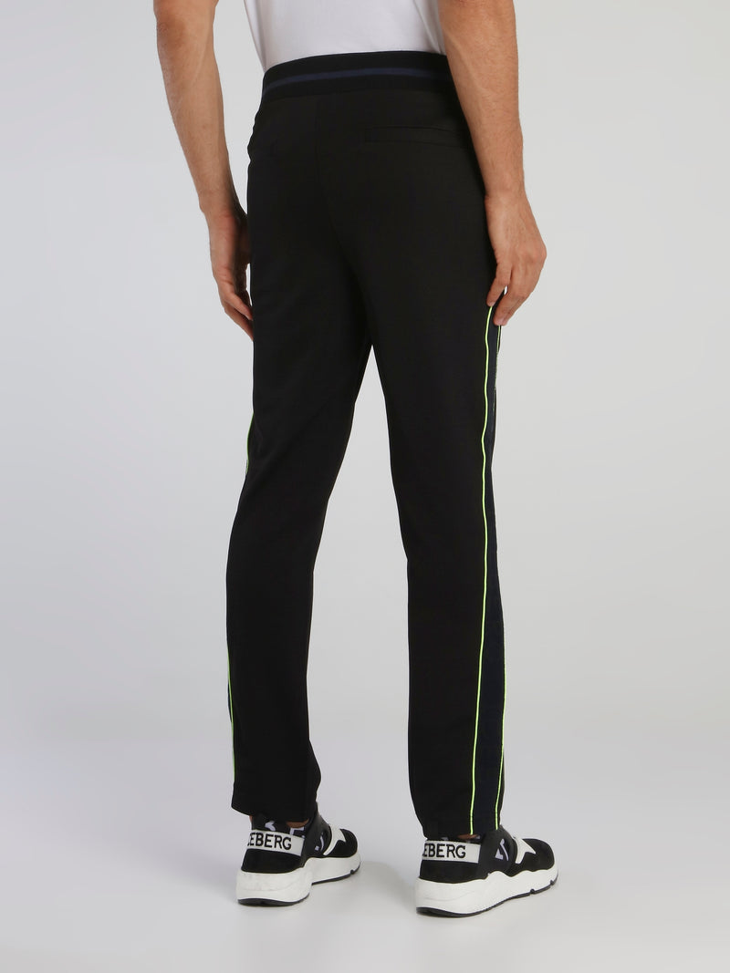 Black Side Stripe Drawstring Trousers