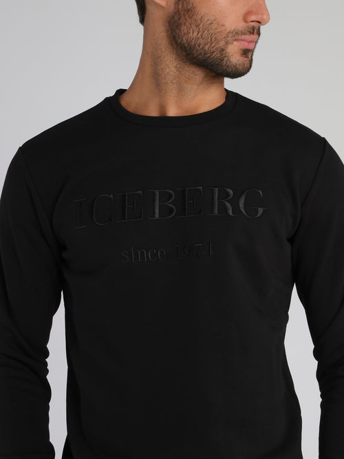Black Embroidered Classic Logo Sweatshirt