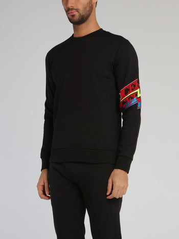 Black Logo Panel Cotton  Sweatshirt