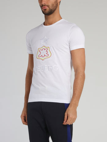 White Monogram Embroidered Cotton T-Shirt