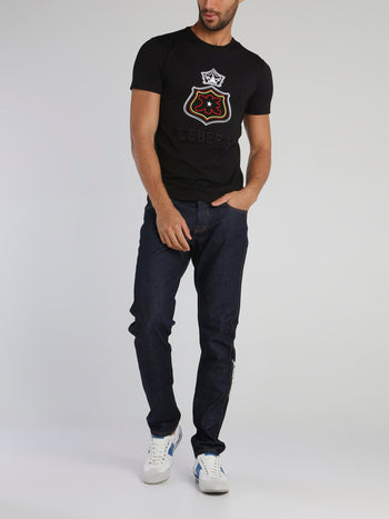 Black Monogram Embroidered Cotton T-Shirt