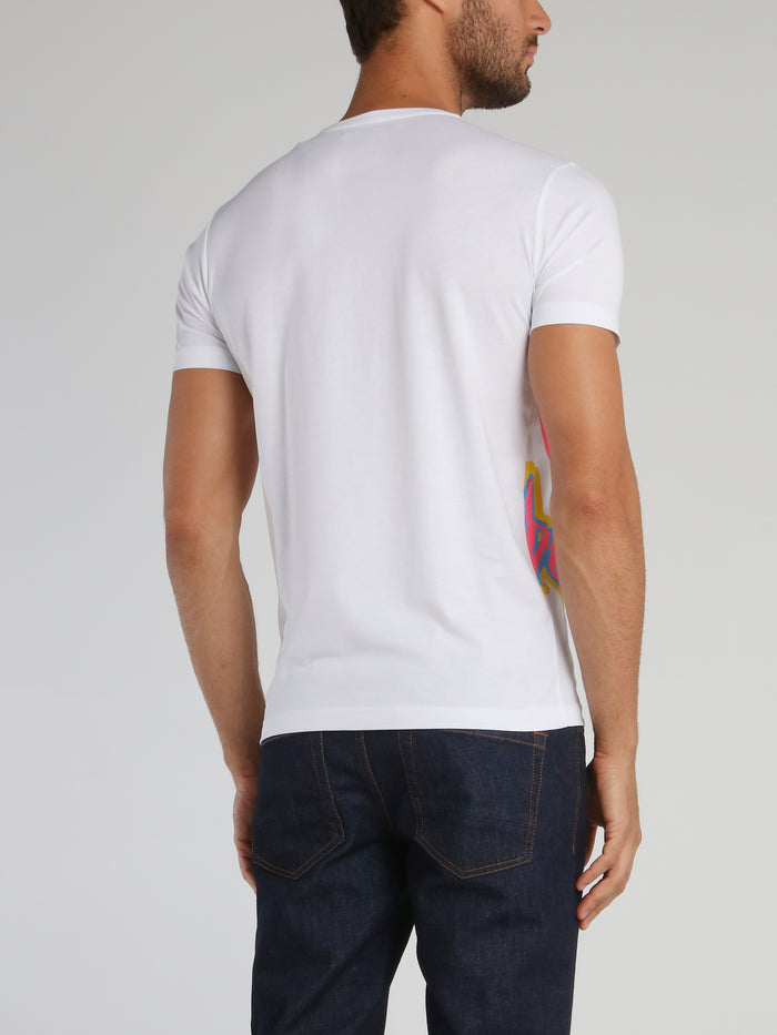 White Logo Patch Print T-Shirt