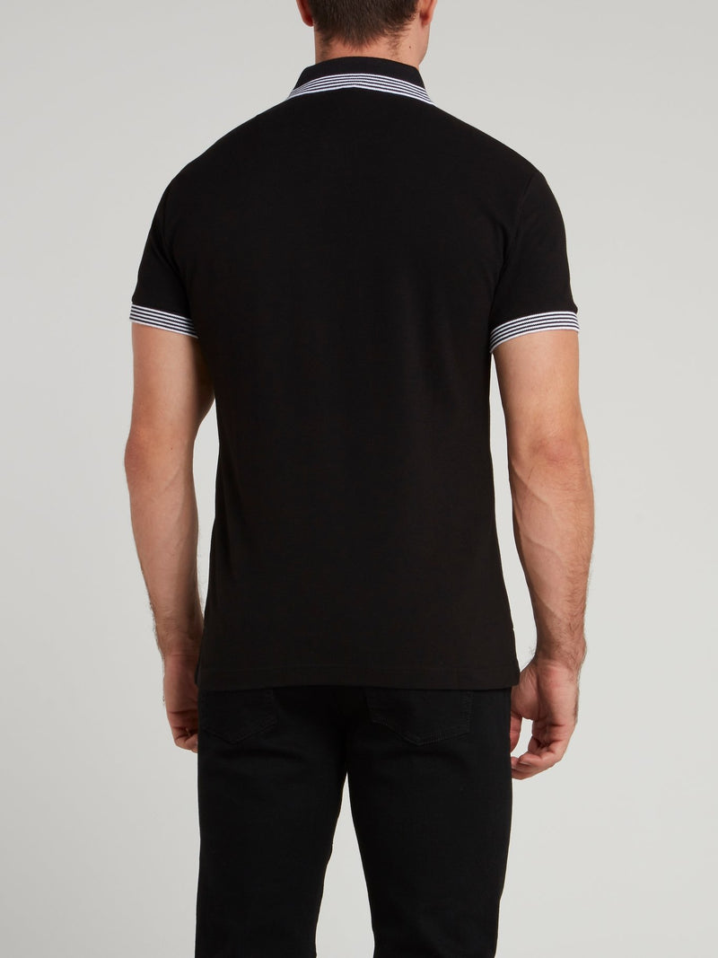 Black Striped Edge Appliquéd Polo Shirt
