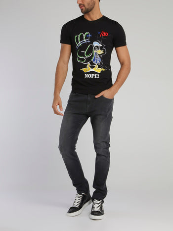 Donald Duck Black Graffiti T-Shirt