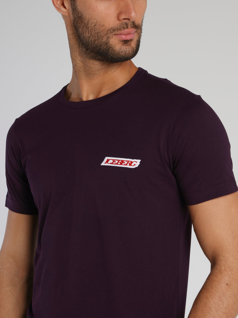 Purple Embroidered Logo Crewneck T-Shirt