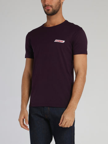 Burgundy Embroidered Logo Crewneck T-Shirt
