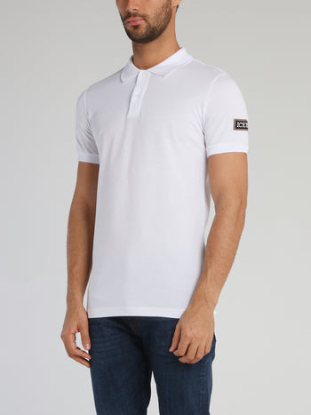 White Logo Patched Polo Shirt