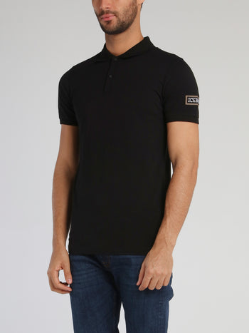 Black Polo Shirt With Sleeve Patched Logo