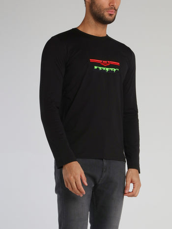 Black Long Sleeve With Embroidered Logo T-Shirt