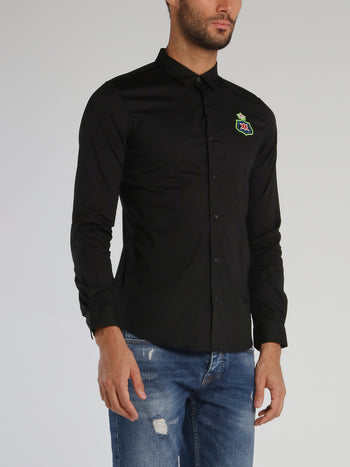 Black Embroidered Monogram Long Sleeve Shirt