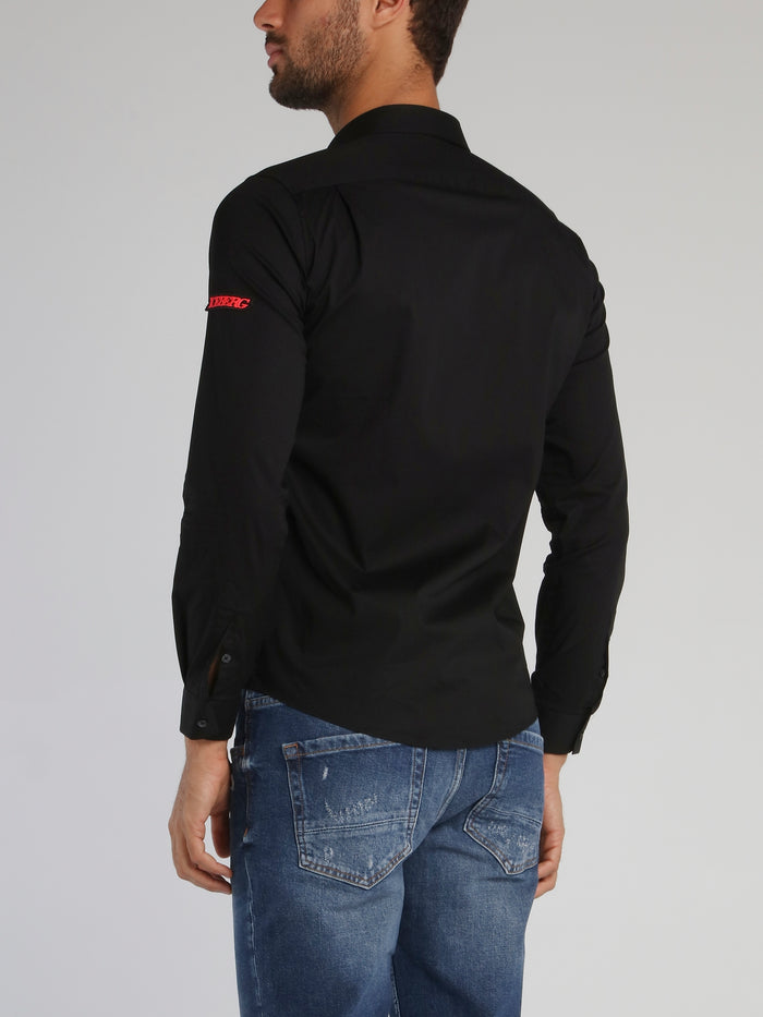 White Logo Patched Long Sleeve Shirt