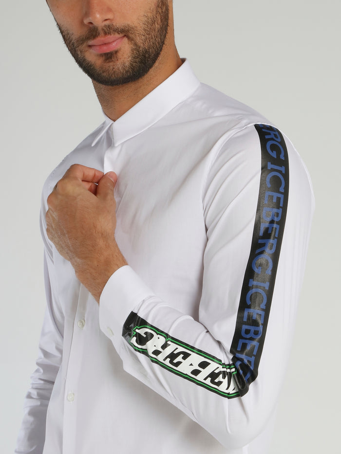 White Logo Sleeve Polo Shirt