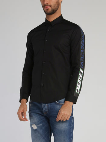 Black Logo Sleeve Polo Shirt