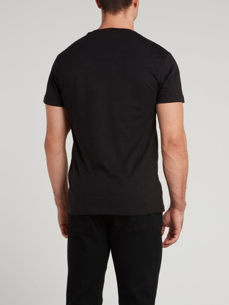 Black Logo Embroidered T-Shirt