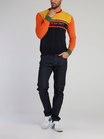 Colour Block Crewneck Sweat Top