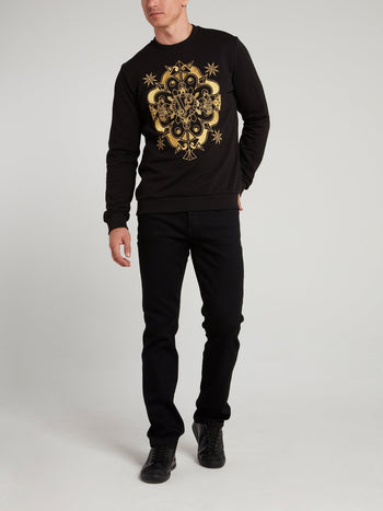 Black Embroidered Cotton Sweatshirt