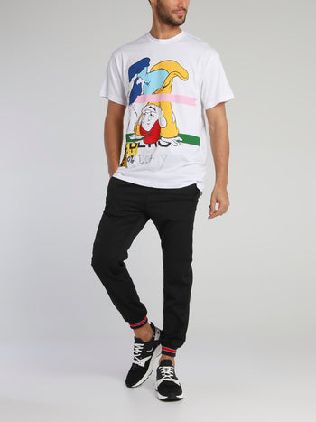 Dopey White Graphic Print T-Shirt