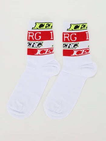 White Logo Cotton Socks