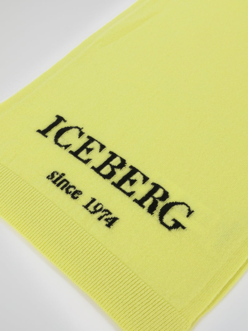 Yellow Logo Knitted Scarf