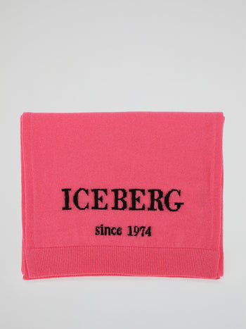 Pink Logo Knitted Scarf