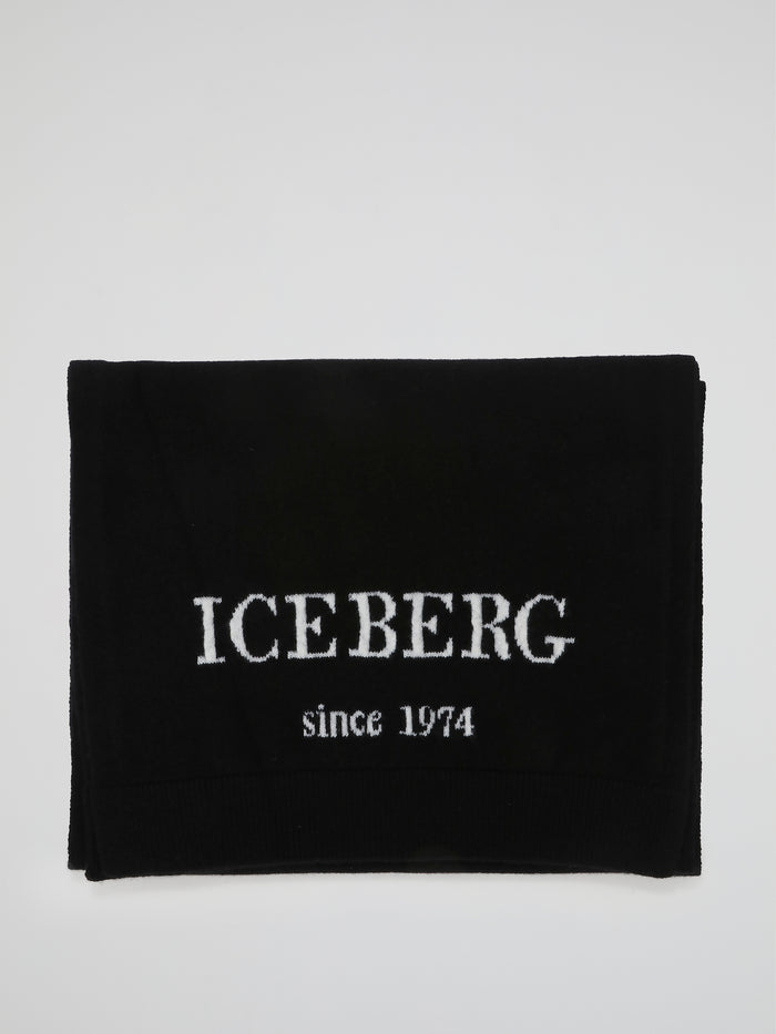 Black Logo Knitted Scarf