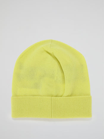 Yellow Logo Cashmere Knitted Beanie