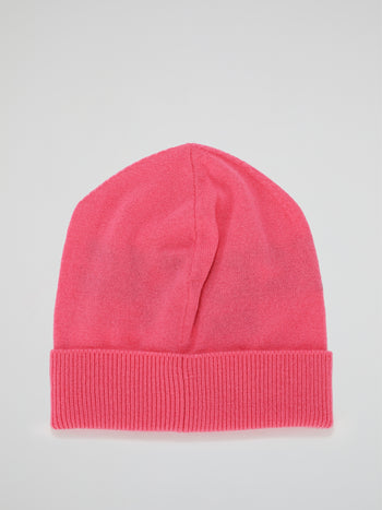 Pink Logo Cashmere Knitted Beanie
