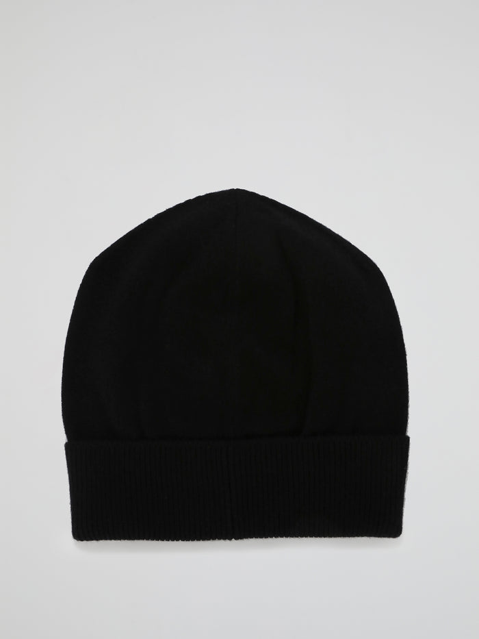Black Logo Cashmere Knitted Beanie