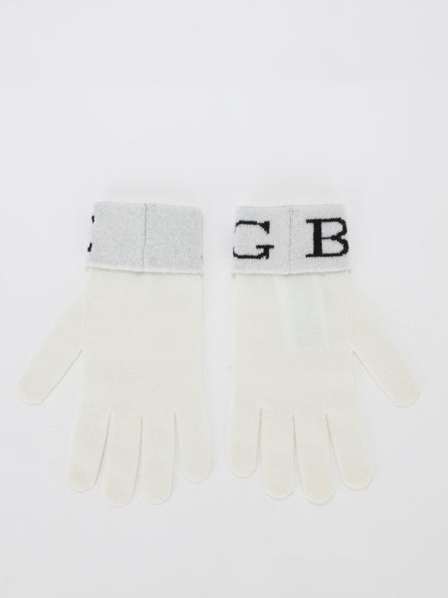 White Logo Cashmere Knitted Gloves