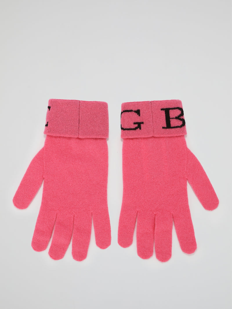 Pink Logo Cashmere Knitted Gloves