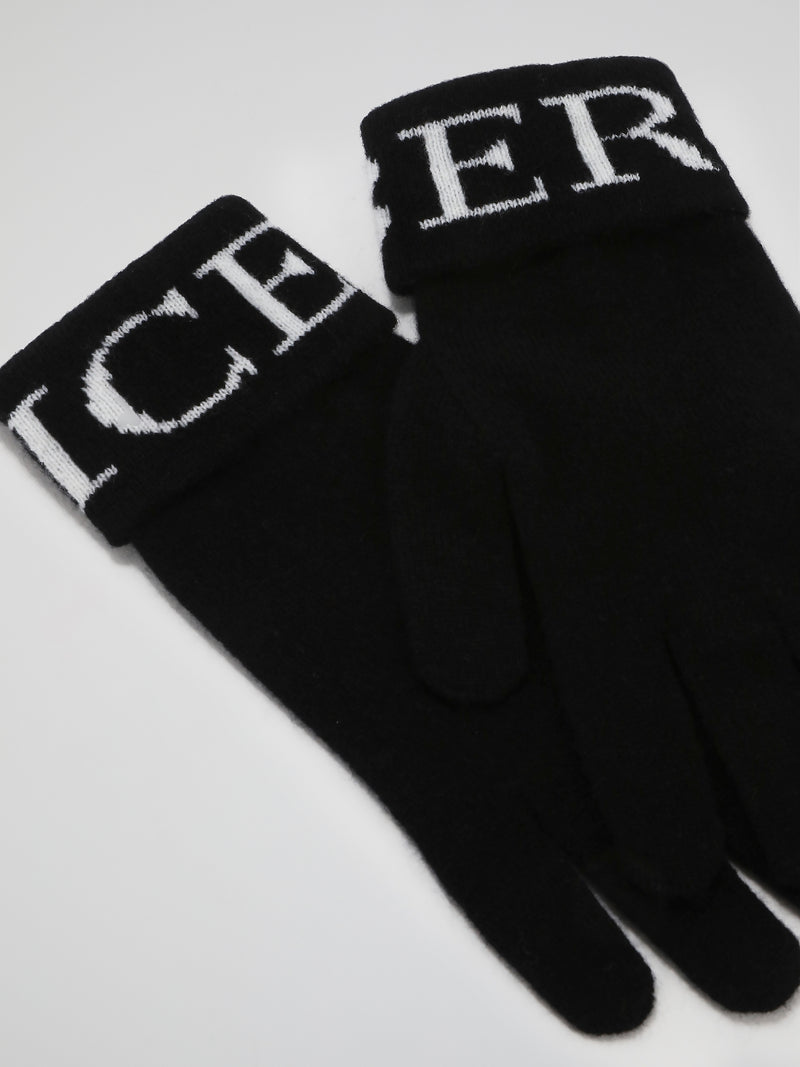 Black Logo Cashmere Knitted Gloves