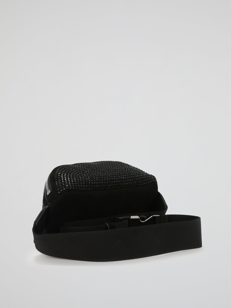 Black Crystal Studded Logo Belt Bag